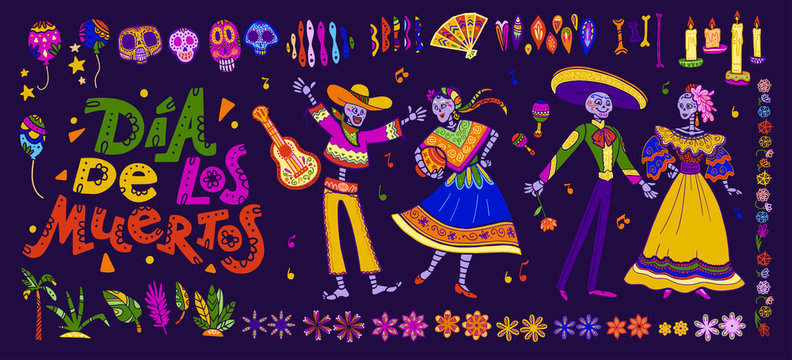 Vector dia de los muertos set of mexico traditional elements, symbols & skeleton characters in hand drawn style isolated on dark background. Mexican celebration, national patterns & decorations.