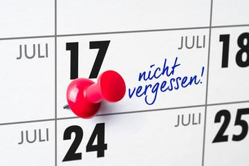 Wandkalender - 17. Juli