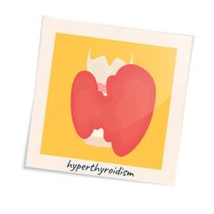 Thyroid gland disorder poster. Hyperthyroidism goiter symbol in a photo frame. Cute unhealthy internal body organ icon in cartoon style. Human endocrine system. Medical vector illustration.