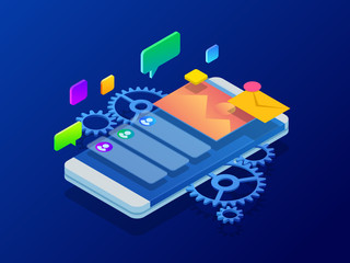 Isometric User experience, optimizing user experience in e-commerce. Drawing website ux app development. Developing programming and coding technologies concept.
