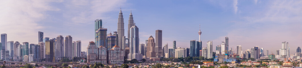 Kuala Lumpur skyline, view of the city, skyscrapers with a beautiful sky in the morning