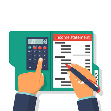 Income statement. Accounting finance. Income money. Men write documents, statement of income. Income statement vector illustration, flat design. Counting profit. Report income.  Calculation income.