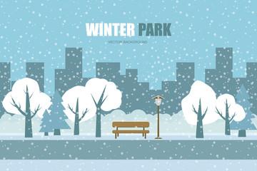 Vector background. Winter park .