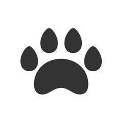 Black isolated icon of animal paw track on white background. Silhouette of animal foot print.