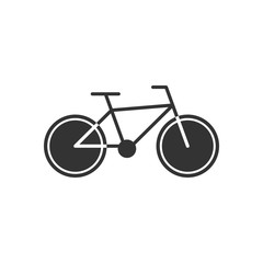 Black isolated icon of bicycle on white background. Silhouette of bike.