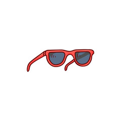 Black lens sunglasses with red border icon. Vintage eyesight protection accessory. Summer holiday poster, banner design element. Isolated vector sketch illustration