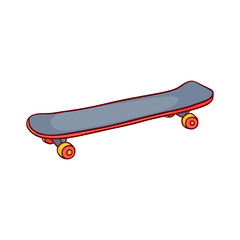 Skate board sketch icon. Vintage retro urban, street transport, extreme sport equipment. Skateboarding board with red wheels. Vector isolated illustration.