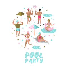 Pool Party Doodle. Characters People Swimming, Relaxing, Have Fun in the Pool. Summertime Holidays at Beach Resort. Vector illustration