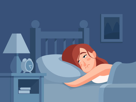 Woman with insomnia or nightmare lying in bed at night background. Sleepless person awake with tired sadness face cartoon illustration