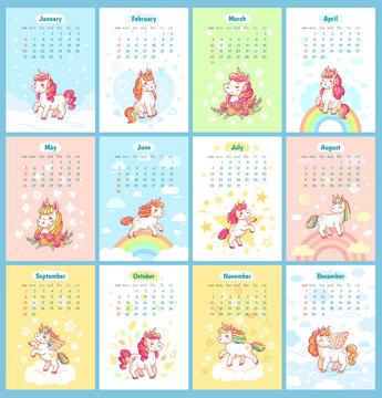 Sweet cute magic unicorn 2019 calendar for kids. Fairy unicorns with rainbow cartoon vector template for calendars design