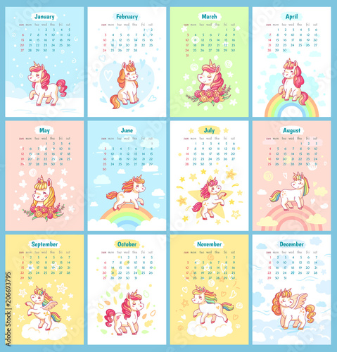 Sweet Cute Magic Unicorn 2019 Calendar For Kids Fairy Unicorns With