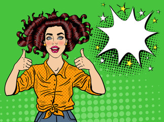 Pop Art Pretty Woman Posing with Thumb Up Sign. Joyful Girl Vintage Poster with Comic Speech Bubble. Pin Up Advertising Placard Banner. Vector illustration