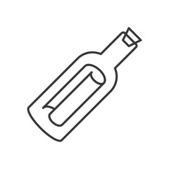 Message in a bottle icon, line design vector