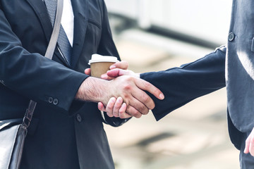 Success of handshake business partners.Partnership approval and thanks gesture concept