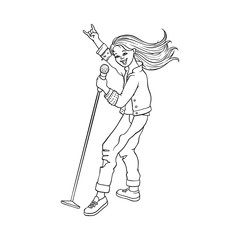 Young woman singing at microphone in jeansware. Rock music, culture, heavy metal, punk rock style clothing, haircut female character. Isolated vector sketch monochrome illustration