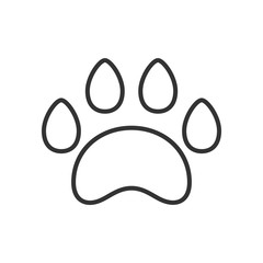 Black isolated outline icon of animal paw track on white background. Line Icon of animal foot print.