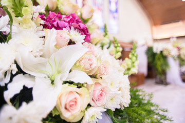 Bridal Flower bouquet in church