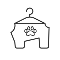 Black isolated outline icon of animals clothes on white background. Line Icon of clothes for dog.