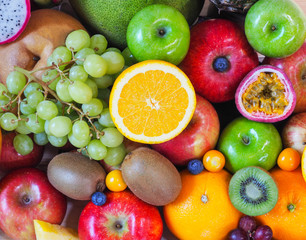 Colorful fresh fruits and vegetables background, healthy eating concept.