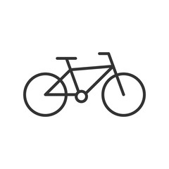 Black isolated outline icon of bicycle on white background. Line Icon of bike.