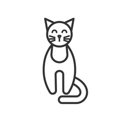 Black isolated outline icon of cat on white background. Line Icon of cat, front view.