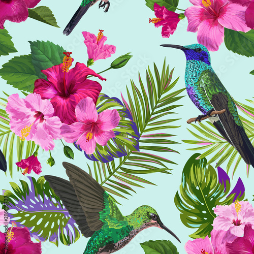 Tropical Seamless Pattern With Hummingbirds Exotic Hibiskus Flowers