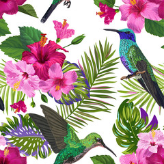 Tropical Seamless Pattern with Hummingbirds, Exotic Hibiskus Flowers and Palm Leaves. Floral Background with Colibri Birds for Fabric, Textile, Wallpaper. Vector illustration