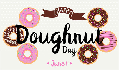 Happy Doughnut Day card or background. vector illustration.