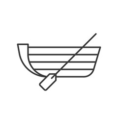 Boat with paddle outline icon on white background