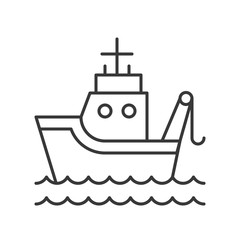 Fish boat on sea waves outline icon on white background