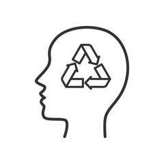 Black isolated outline icon of head of man with recycling mind on white background. Line Icon of head of man. Recycle think.