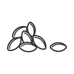 Obraz Black isolated outline icon of heap of grain on white background. Line Icon of grains of wheat. - fototapety do salonu