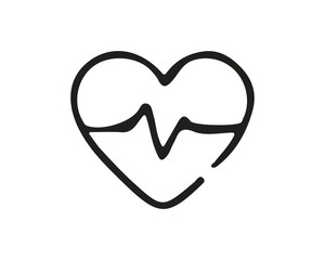 heartbeat icon design illustration,hand drawn style design, designed for web and app