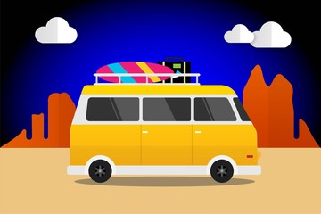 Yellow Car Retro With Surfboard and Suitcases Summer, Van Car Travel to the desert. Vector Illustration Flat Design Background