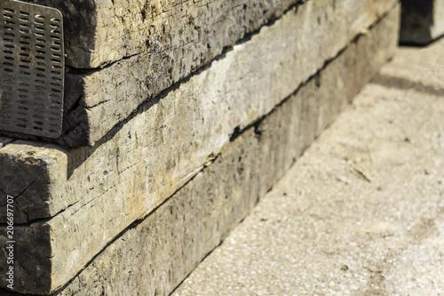 railroad cross ties lie on the ground