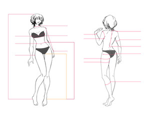 Woman body measurement chart. Scheme for measurement human body for sewing clothes. Female figure: front view, back view. Template for dieting, fitness. The vector drawing without background.