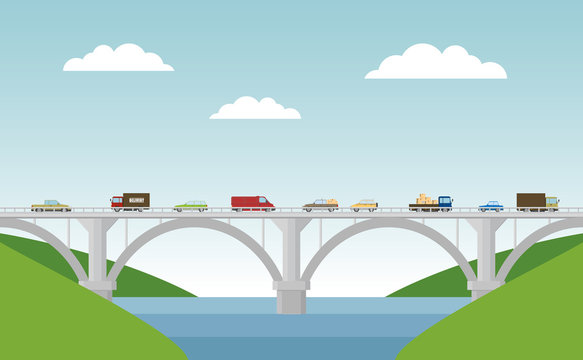 Vector landscape with bridge and cars.