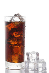 Glass of cola and ice cubes isolated on white