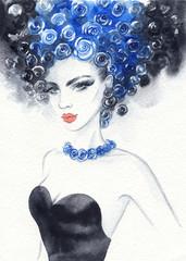 Wall Murals Watercolor Face beautiful woman. fashion illustration. watercolor painting