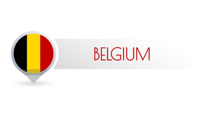 Belgium flag. Circle flag button in the map marker shape. Belgian country icon, badge or banner. Vector illustration.