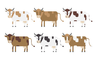 Vector set of cows.