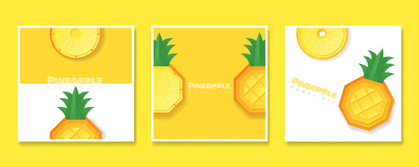 Set of fruit banners with pineapple in paper art style , vector , illustration