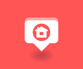 Home icon, vector symbol in flat style isolated on red background. Social media illustration.