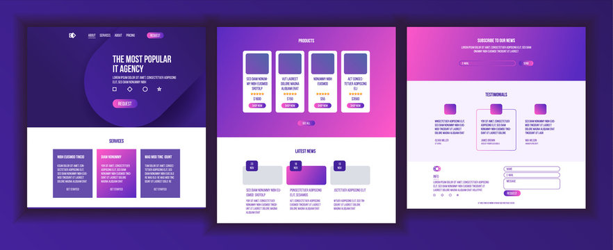 Website Page Vector. Business Agency. Web Page. Design Front End Site Scheme. Landing Template. Protection Receipt. Company Concept. Group Meeting. Illustration