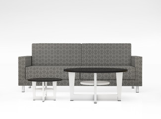 Modern couch with two tables isolated on white