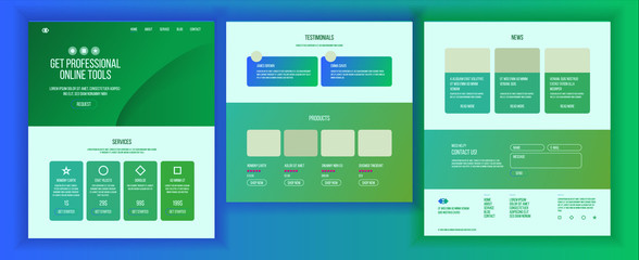 Website Design Template Vector. Business Technology. Landing Web Page. Modern Online Servises. Promotion Settings. Advertising Aanalysis. People Environment. Illustration