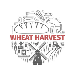 Wheat production. Eco banner. Line icons set. Vector signs for web graphics.