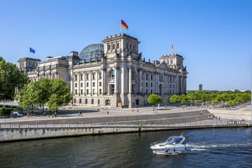 Foto op Canvas Berlijn Berlin, Reichstag und Spree