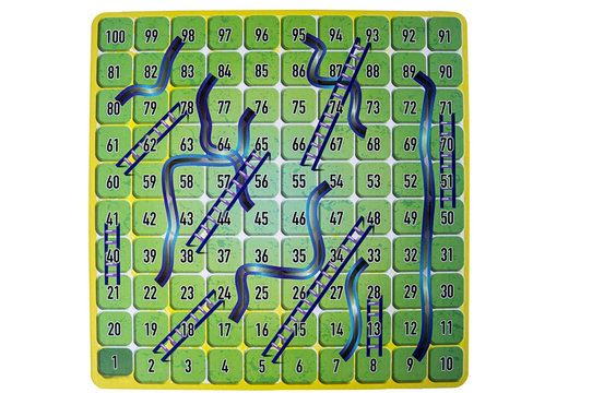 chutes ladders board game competition numbers white background