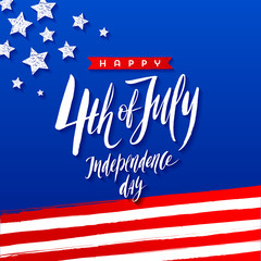 4th of July, Independence day - greeting design. Handwritten brush calligraphy. Vector illustration